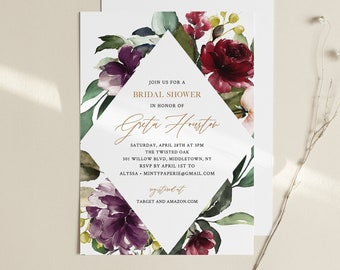 Purple Floral Bridal Shower Invitation, Greenery and Gold, Editable Template, Printable Couples Shower, Instant Download, Templett 006-222BS