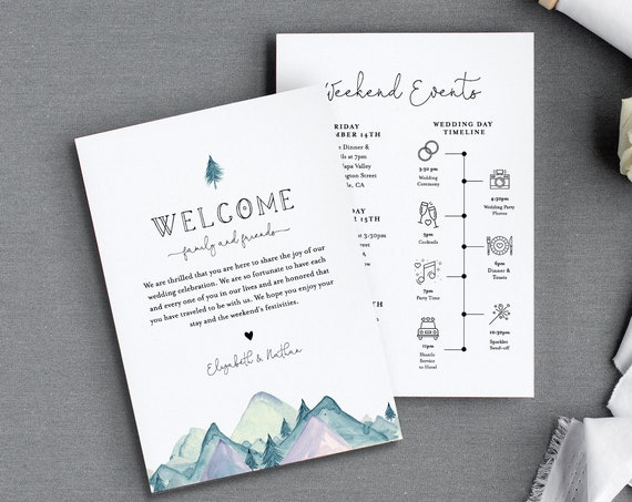 Rustic Welcome Letter & Timeline Template, Mountain Wedding Order of Events, Itinerary, INSTANT DOWNLOAD, 100% Editable Text #063-130WB