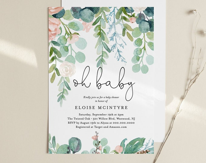 Printable Baby Shower Invitation, Lush Garden Greenery, Baby Shower Invite Template, 100% Editable Text, Instant Download, DIY #068A-111BA