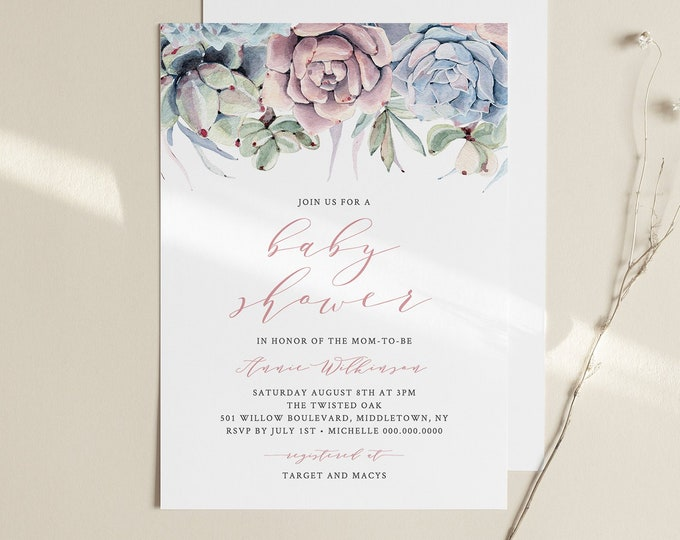 Succulent Baby Shower Invitation Template, Cactus Baby, Boho Baby, 100% Editable Text, Printable, Instant Download, Templett #041-110BA