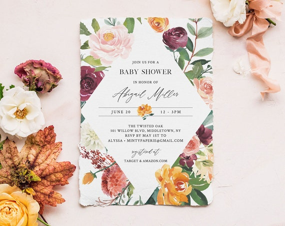 Baby Shower Invitation Template, Orange & Burgundy Floral Greenery, INSTANT DOWNLOAD, 100% Editable Text, Printable DIY, Templett #002-117BA