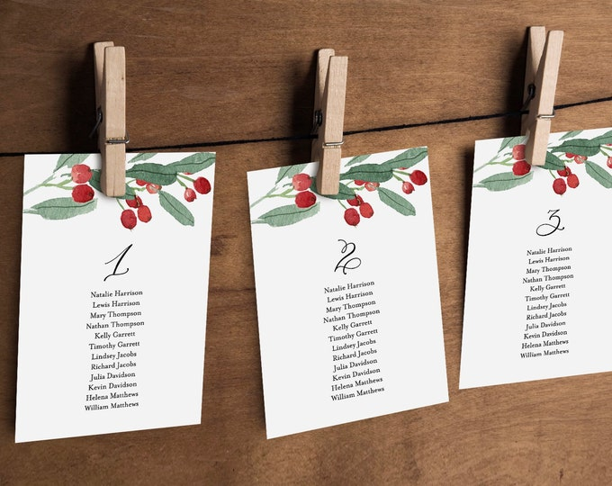 Winter Wedding Seating Chart Template, Holly Seating Cards, Christmas, 100% Editable Text, Printable, Instant Download, Templett #071-115SP