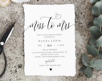 Miss to Mrs Bridal Shower Invitation Template, Printable Wedding Shower Invite, Jack and Jill, Rustic, 100% Editable, Templett #008-232BS