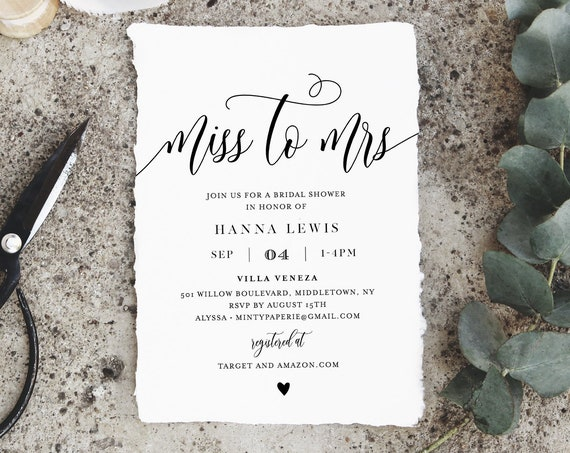 Miss to Mrs Bridal Shower Invitation Template, Printable Wedding Shower Invite, Jack and Jill, Rustic, 100% Editable, Templett #008-232BS