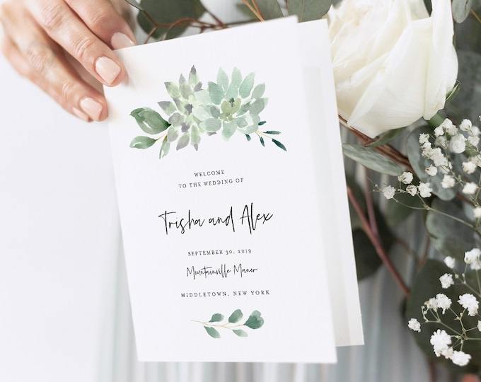 Folded Wedding Program Template, Succulent Greenery, Order of Service, Ceremony, INSTANT DOWNLOAD, 100% Editable Text, Templett #075-131WP