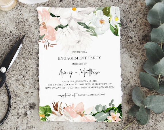 Tropical Engagement Party Invitation, DIY Printable Greenery Engaged Template, INSTANT DOWNLOAD, 100% Editable Text, Templett #079-127EP