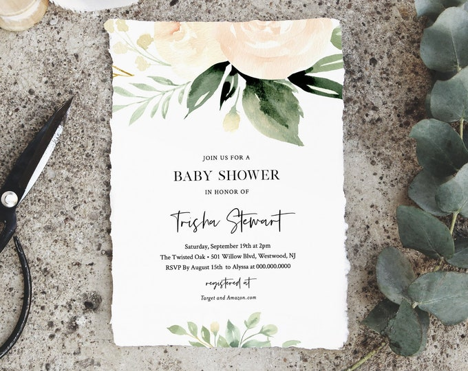Baby Shower Invitation Template, Delicate Peach Florals and Greenery, Printable Baby Shower Invite, Instant Download, Templett #076-103BA