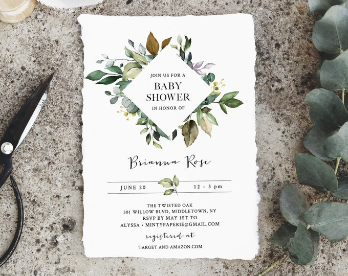 Greenery Baby Shower Invitation Template, Foliage, Bohemian Shower, 100% Editable Text, Printable, Instant Download, Templett #005-109BA