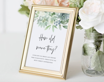 How Old Were They Bridal Shower Game, Baby Photo Game, Instant Download, Editable Template, Guess the Ages Game, DIY, Templett #075-173BG