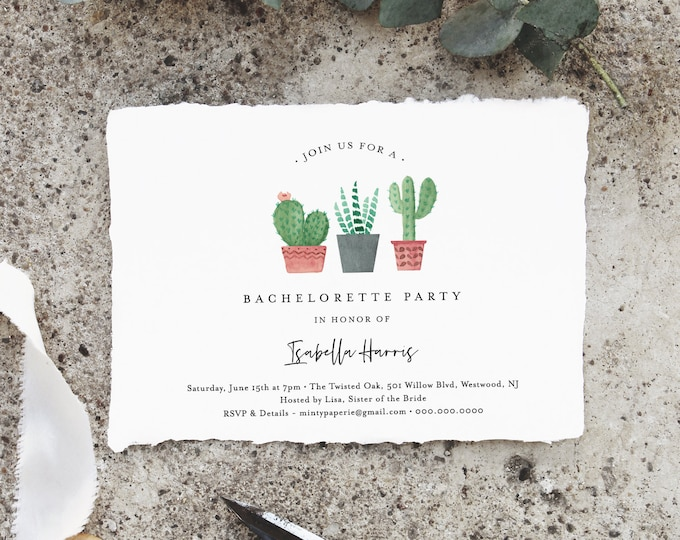 Bachelorette Invitation & Itinerary Template, INSTANT DOWNLOAD, 100% Editable Text, Cactus, Succulent, Final Fiesta, Templett #086-126BP