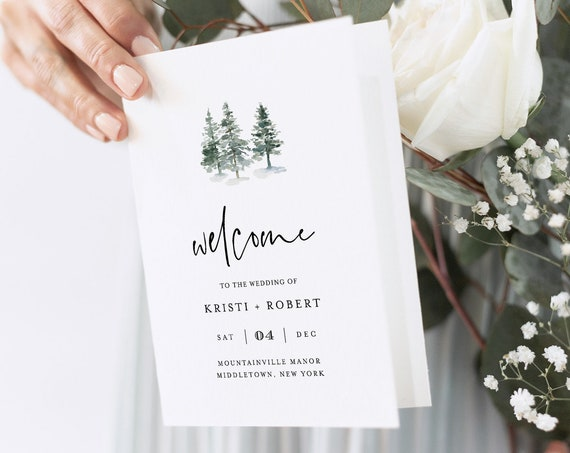 Pine Wedding Program Template, Rustic Winter, Folded Order of Service, Ceremony, INSTANT DOWNLOAD, 100% Editable Text, Templett #073-132WP