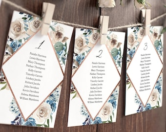Seating Chart Template, Seating Table Cards, Seating Plan, Blue Florals & Rose Gold, Instant Download, Editable, Templett #077-124SP