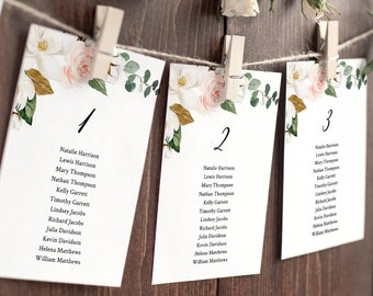 Wedding Seating Chart Printable, Editable Table Seating Cards, Magnolia Floral & Greenery Seating Plan Template, INSTANT DOWNLOAD #015-119SP
