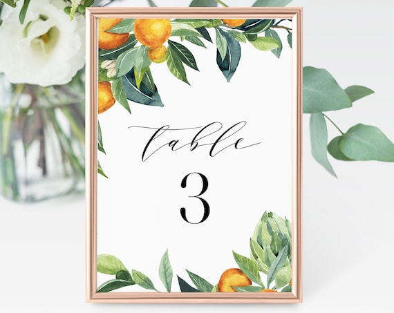 Wedding Table Number Card, Printable Bridal Seating Card, Orange Citrus Blossom, INSTANT DOWNLOAD, Editable Template, Templett #084-148TC