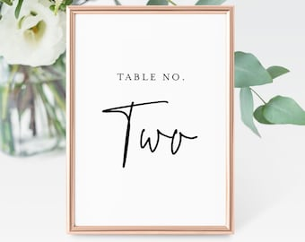 Printable Table Number Cards, Minimalist Wedding Table Number, Modern Script, 100% Editable Template, Change Colors, INSTANT DOWNLOAD #137TC