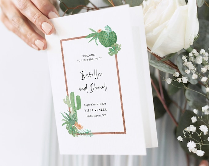 Cactus Wedding Program Template, Succulent Order of Service, Folded Ceremony, INSTANT DOWNLOAD, 100% Editable Text, Templett #086-135WP