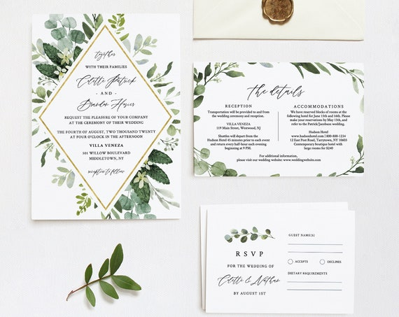 Wedding Invitation Suite, Greenery Bohemian Invite, RSVP and Details, Editable Template, Printable, INSTANT DOWNLOAD, Templett #082B