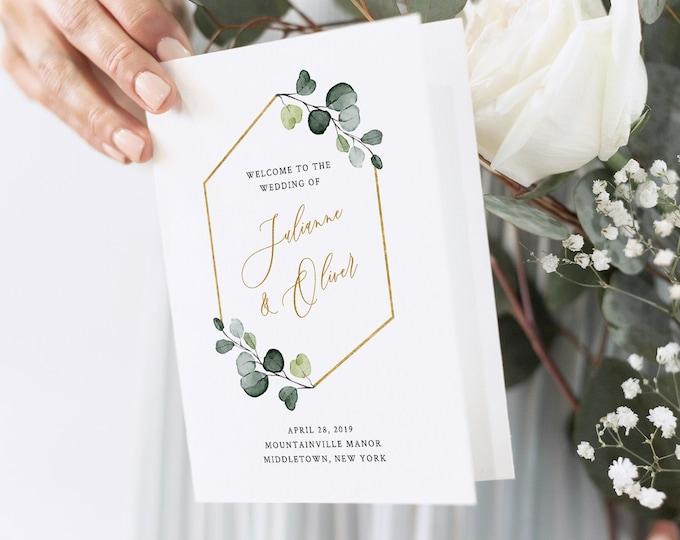 Greenery Wedding Program Template, Boho Order of Service, Catholic Ceremony, INSTANT DOWNLOAD, 100% Editable Text, Templett, DIY #007-132WP