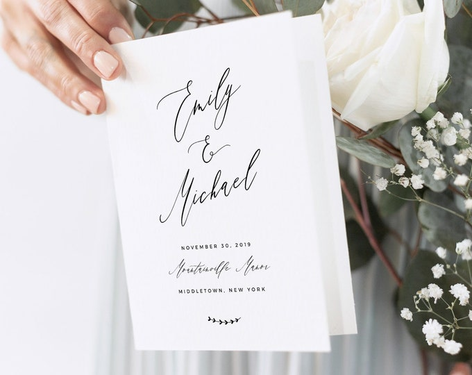 Wedding Program Template, Folded Booklet, Printable Order of Service, INSTANT DOWNLOAD, 100% Editable, Catholic Ceremony, Templett 052-129WP