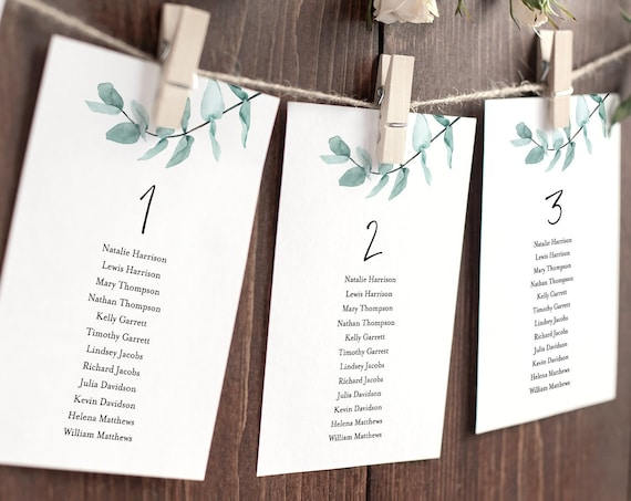 Eucalyptus Seating Chart Template, Wedding Seating Cards, 100% Editable Text, Modern Greenery, Instant Download, Templett, DIY #049-120SP