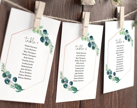 Seating Chart Printable, Table Seating Cards, Greenery Wedding Seating Plan Template, INSTANT DOWNLOAD, 100% Editable Text #068-122SP