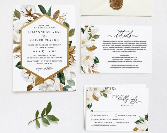 Magnolia Wedding Invitation Set, Ivory Cotton, Rich Greenery, Southern Wedding Invite, Editable Template, INSTANT DOWNLOAD, Templett #015A