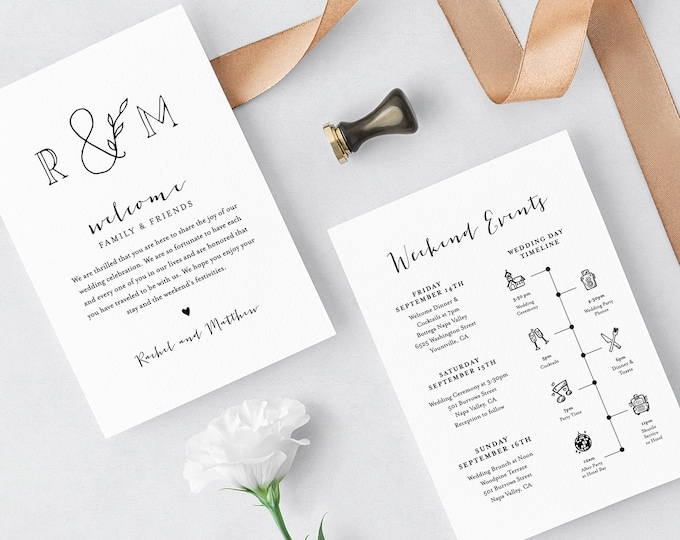 Wedding Timeline & Welcome Letter Template, Printable Welcome Bag Note, Order of Events, Agenda, Itinerary, Editable, Templett #042-128WB