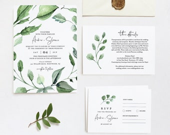 Greenery Wedding Invitation Template, Printable Foliage Invite, RSVP and Details, INSTANT DOWNLOAD, 100% Editable Text, DiY, Templett #059A