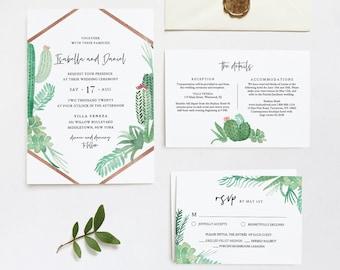Succulent Wedding Invitation Set Template, INSTANT DOWNLOAD, 100% Editable Text, Cactus Invite, RSVP & Detail, Printable, Templett #086B