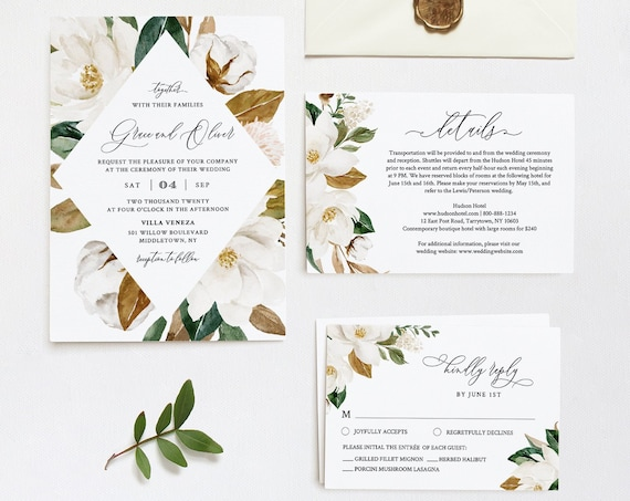 Wedding Invitation Set, Cream Magnolia, Ivory Cotton & Rich Greenery, Southern Wedding, Editable Template, INSTANT DOWNLOAD, Templett #015A