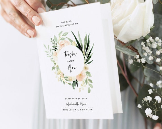Greenery Wedding Program Template, Folded Order of Service, INSTANT DOWNLOAD, 100% Editable Text, Catholic Ceremony, Templett 076-130WP