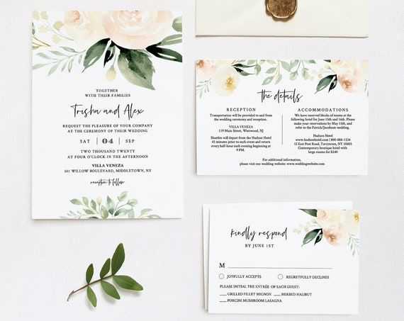 Delicate Peach Floral Wedding Invitation Template, Watercolor Florals, Greenery Invite, RSVP and Details, 100% Editable Text, Templett #076B