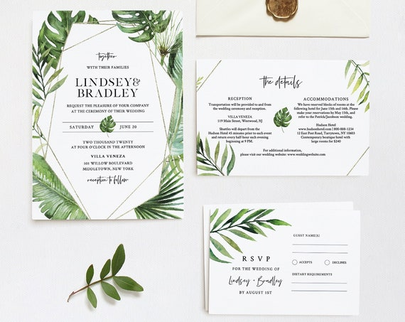 Tropical Wedding Invitation Suite, Destination Beach Wedding Invite, RSVP and Details, Editable Template, INSTANT DOWNLOAD, Templett #083B