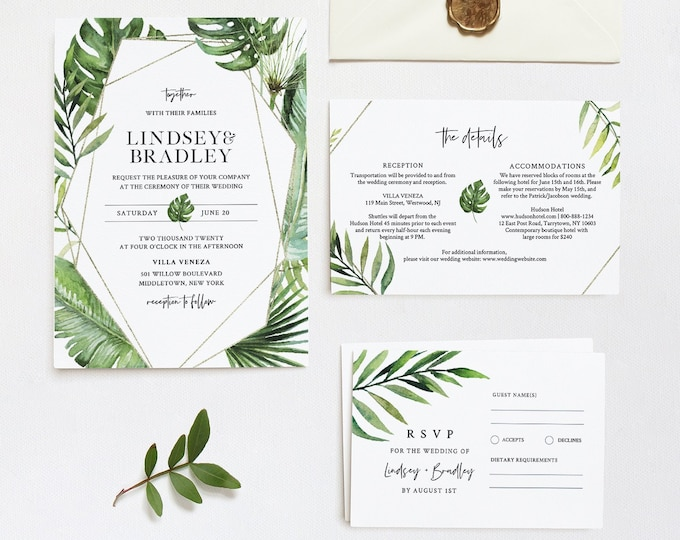 Tropical Wedding Invitation Suite, Destination Beach Wedding Invite, RSVP and Details, Editable Template, INSTANT DOWNLOAD, Templett #083B