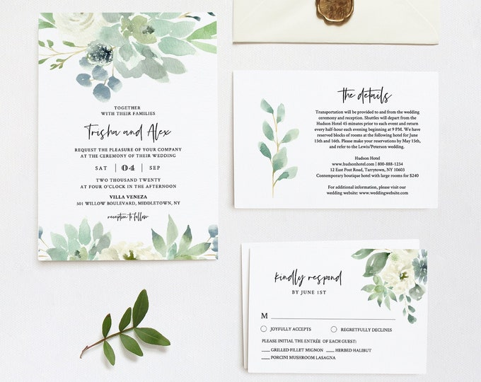Succulent Wedding Invitation Set, Printable Delicate Watercolor Greenery, Spring Summer Wedding, Editable Template, INSTANT DOWNLOAD #075B
