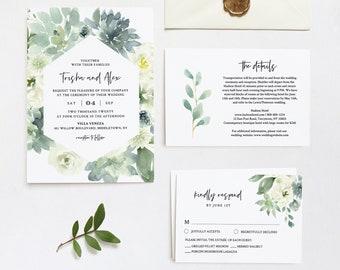 Garden Wedding Invitation Set, Printable Delicate Watercolor Succulent Greenery, Boho Wedding, Editable Template, INSTANT DOWNLOAD #075C