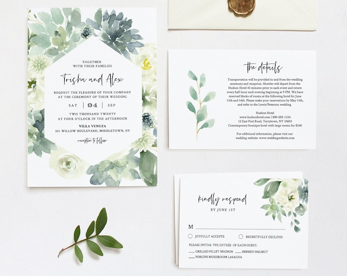 Garden Wedding Invitation Set, Printable Delicate Watercolor Succulent Greenery, Boho Wedding, Editable Template, INSTANT DOWNLOAD #075C