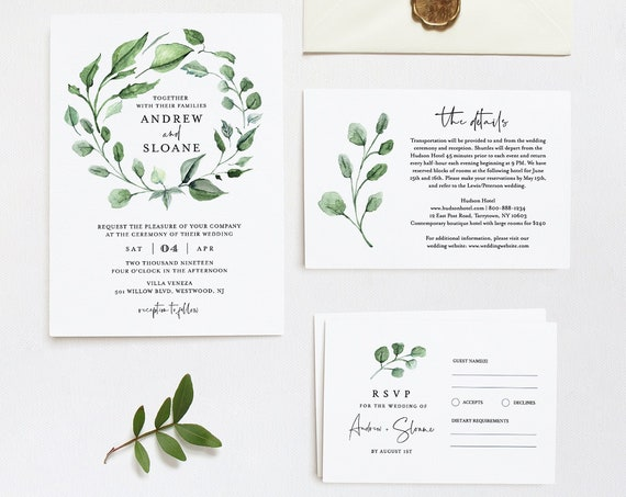 Wedding Invitation Set, Greenery Wreath, Boho Wedding, Editable Template, Invite, RSVP and Details, INSTANT DOWNLOAD, DiY, Templett #059B