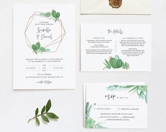 Cactus Wedding Invitation Set Template, INSTANT DOWNLOAD, 100% Editable Text, Succulent Invite, RSVP & Detail, Printable, Templett #086A