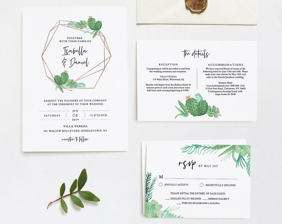 Cactus Wedding Invitation Set Template, INSTANT DOWNLOAD, 100% Editable Text, Succulent Invite, RSVP & Detail, Printable, Templett #086A