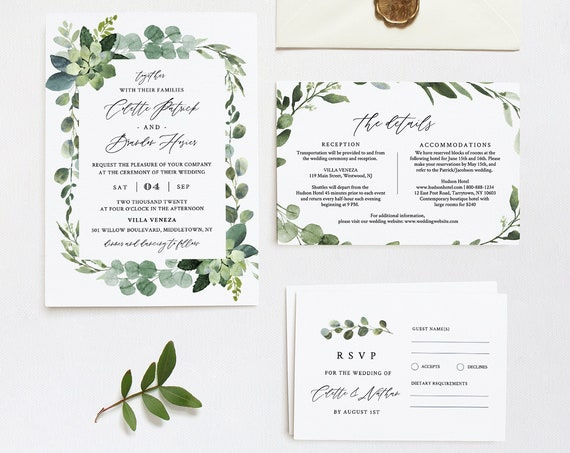 Greenery Wedding Invitation Template, Self-Editing Invite, RSVP and Details, 100% Editable Text, Printable, INSTANT DOWNLOAD, Templett #082A