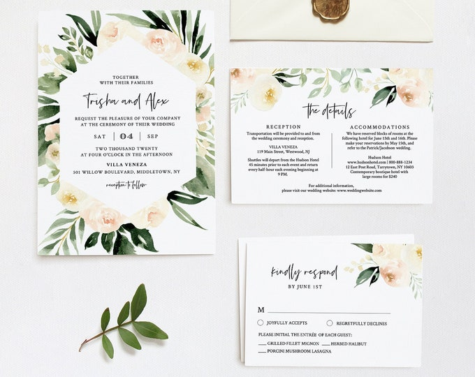 Greenery Wedding Invitation Template, Peach Florals, Printable Invite, RSVP and Details, 100% Editable Text, INSTANT DOWNLOAD Templett #076C