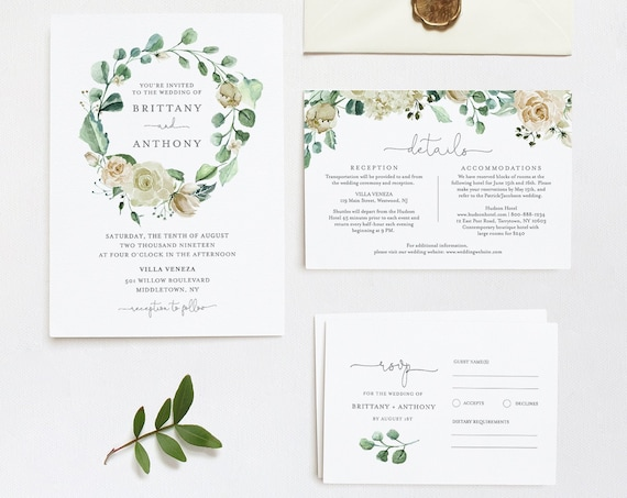 Greenery Wedding Invitation Template, Cream Floral, 100% Editable Text, Printable Invite, RSVP and Details, INSTANT DOWNLOAD, Templett #057C