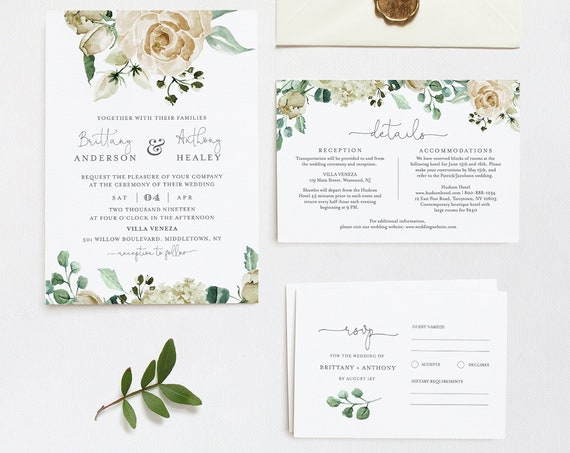 Boho Wedding Invitation Template, Cream Floral, 100% Editable Text, Printable Invite, RSVP and Details, INSTANT DOWNLOAD, Templett #057B