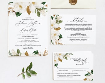 Magnolia Wedding Invitation Template, DiY Southern Wedding, Cotton Boll, Printable Greenery Invite, RSVP & Details, INSTANT DOWNLOAD #015C