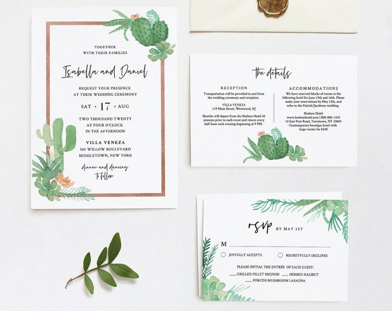 Succulent Wedding Invitation Set Template, INSTANT DOWNLOAD, 100% Editable Text, Cactus Fiesta Wedding Invite, RSVP & Detail, Templett #086C