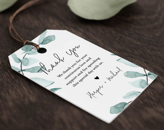 Eucalyptus Favor Tag Template, Thank You Tag, Bridal Shower Tag, Welcome Bag, Birthday, INSTANT DOWNLOAD, Editable Text, Templett #049-136FT
