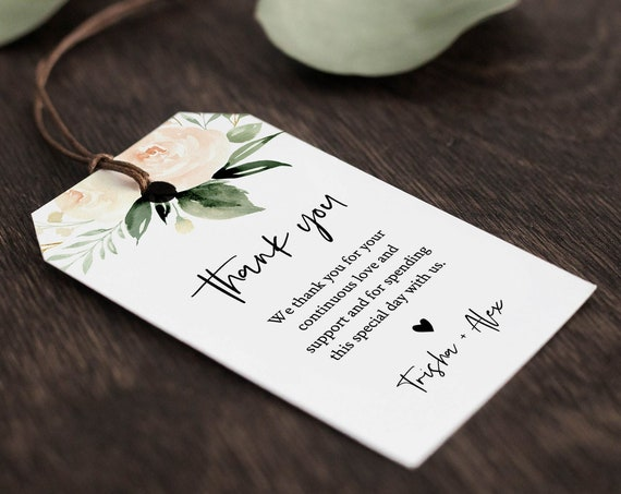 Greenery Wedding Favor Tag, Thank You Tag, Bridal Shower Favor, Welcome Bag Label, INSTANT DOWNLOAD, 100% Editable Text, Templett #076-123FT