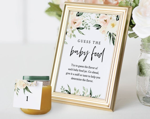 Baby Food Game, Guess the Baby Food, Boho Floral Baby Shower Game, DIY Editable Template, INSTANT DOWNLOAD, Templett #076-157BG