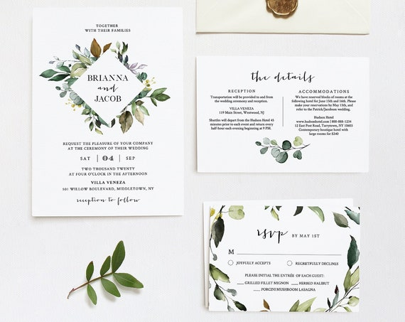 Greenery Wedding Invitation Template, Printable Bohemian Wedding Invite, RSVP, Details, 100% Editable Text, INSTANT DOWNLOAD, DiY #005A